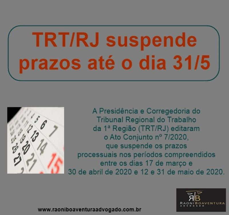 TRT/RJ suspende prazos até o dia 31/5