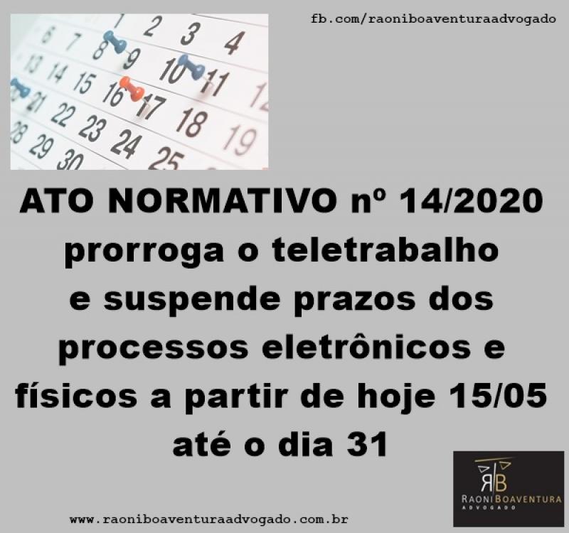 Novo Ato prorroga o teletrabalho e suspende prazos dos processos eletrônicos e físicos até 31 de maio