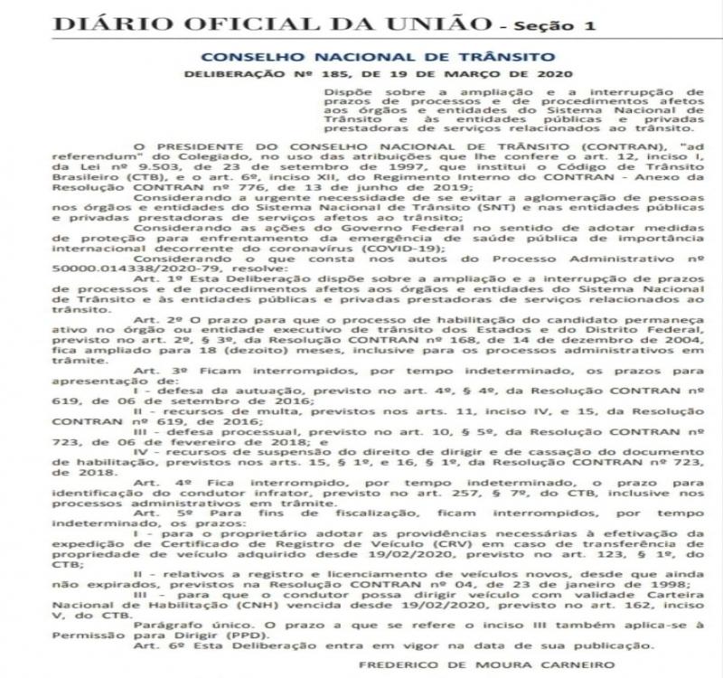CORONAVÍRUS: Contran suspende prazo da CNH e de outros serviços do Sistema Nacional de Trânsito
