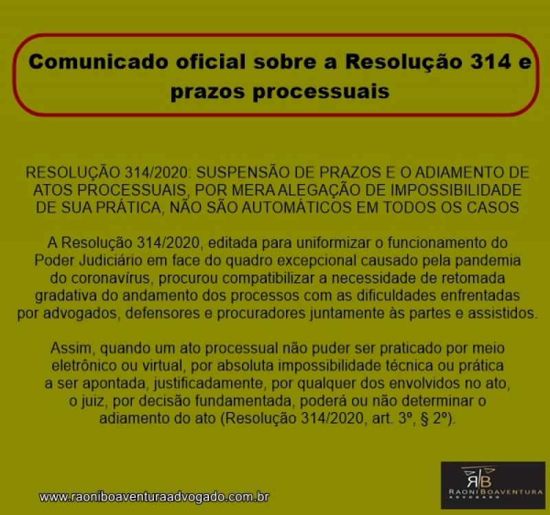 Comunicado oficial sobre a Resolução 314 e prazos processuais