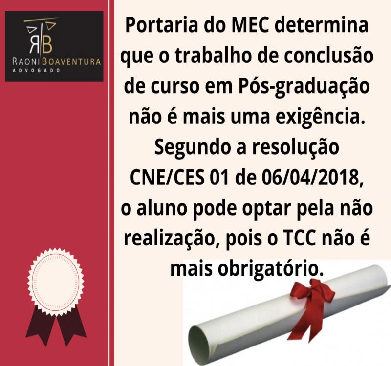 TCC não é obrigatório para Pós-graduação